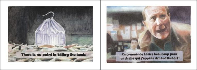 « A cette heure-ci, c'est happy hour rue de Satory à Versailles. « For safety reasons », je boirais bien une pinte de Kwak, pas toi ? », Aquarelles sur papier, 24x64cm, 2015