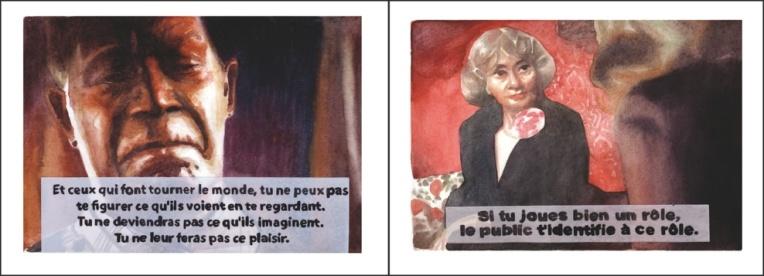 « Tu ne vivras point ou la menace du stéréotype », Aquarelles sur papier, 24x64cm, 2015.