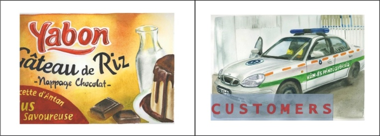 Clément Collet-Billon, Yabon/Customs, Customers, watercolors on paper, 24x64 cm, 2010