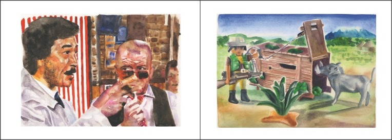 Clément Collet-Billon, Columbo & Kojak in Tamanrasset/Cimarron Playmobil, watercolors on paper, 24x64 cm, 2010