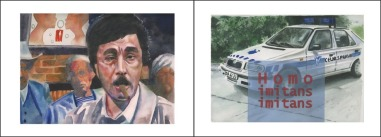 Clément Collet-Billon, Columbo in Tamanrasset/Customs, homo imitans, watercolors on paper, 24x64 cm, 2010