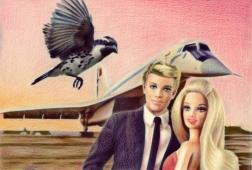"""Clément Collet-Billon, """"Barbie, Ken et leur barbican funèbre devant un Tupolev 144"""", crayons de couleurs et encres imprimantes sur papier, 21×14,7 cm, 2018"""