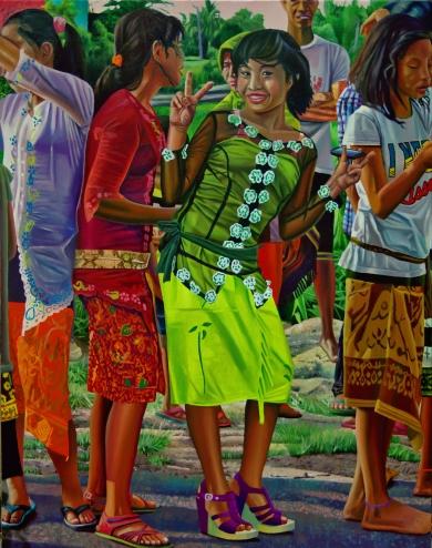 Clément Collet-Billon, « Spiritual Indonesia, ou la mise à l'index de notre monde par les smartphones et les media sociaux », oil on canvas, 190x150cm, 2018