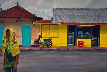 Clément Collet-Billon «Tentative déterminée de sortie du cadre, toujours (plus visible) dans le décor», huile sur toile, 120x180cm, 2019